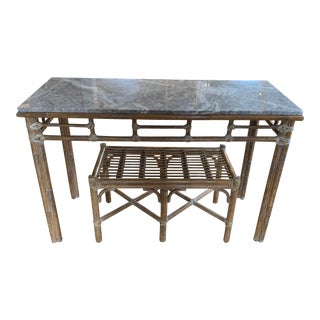 McGuire Marble Topped Bamboo Rattan Console Vanity Table With Bench For Sale