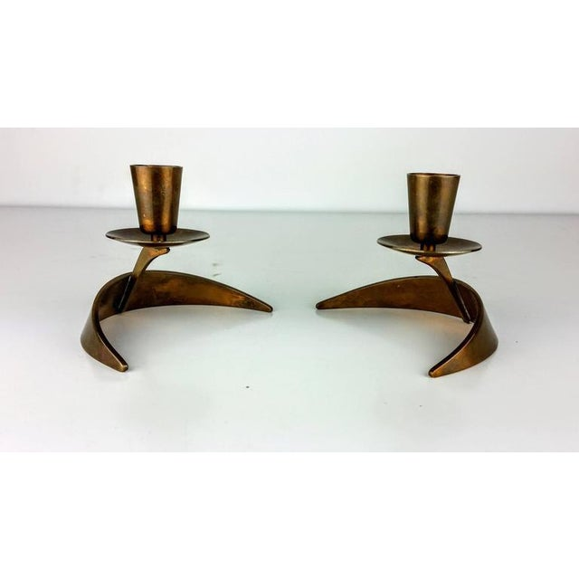John Prip & Ronald Pearson Bronze Modernist Candle Holders - a Pair - Image 2 of 5