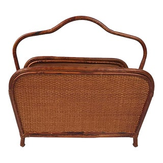 Vintage Mid Century Cane and Rattan Magazine Rack For Sale