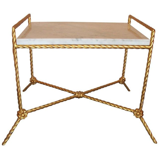 Metal Rectangular Marble Top Seat Bench With Metal Twist Base Adorning Florets For Sale - Image 7 of 7
