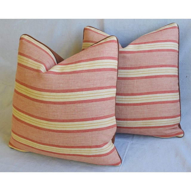 """Rogers & Goffigon & Leather Feather/Down Pillows 20"""" Square - Pair - Image 8 of 13"""