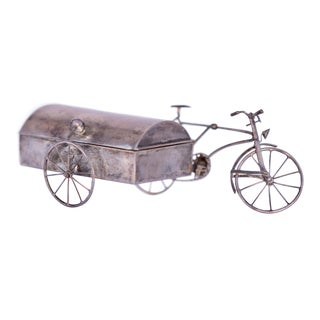 Mexican Craftsman Handmade Silver Box With Bicycle and Carriage For Sale