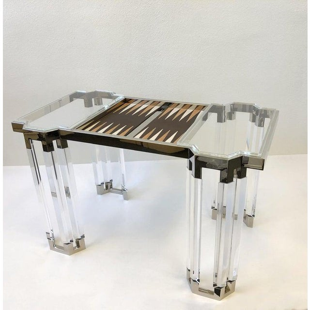 Lucite and Polish Nickel Backgammon Table by Charles Hollis Jones For Sale In Palm Springs - Image 6 of 11