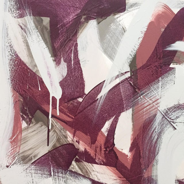 Gestural abstract painting on stretched canvas. This painting is ready to hang. The work is signed, numbered and dated on...