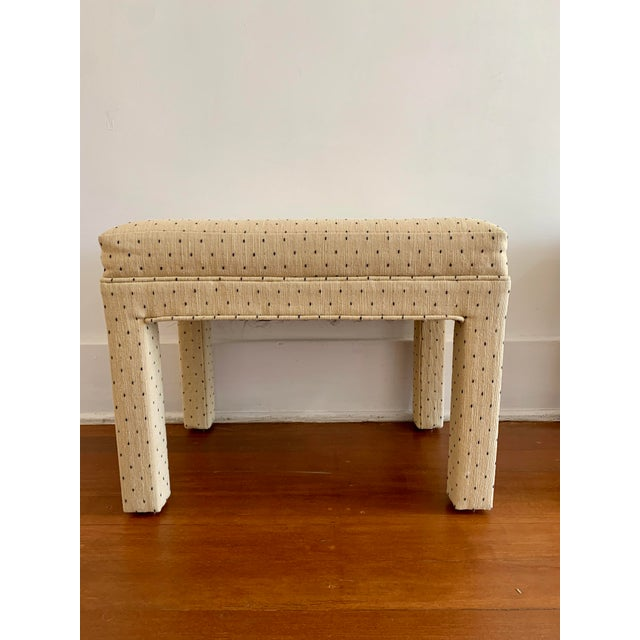 Milo Baughman Parsons Style Polka Dot Upholstered Bench - One Available For Sale - Image 4 of 10
