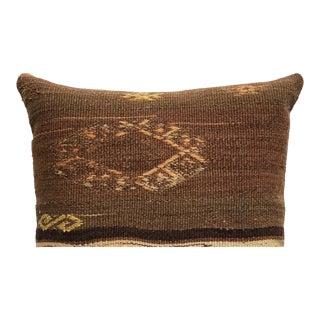 20th Century Turkish Brown and Beige Wool Kilim Pillow - Medium