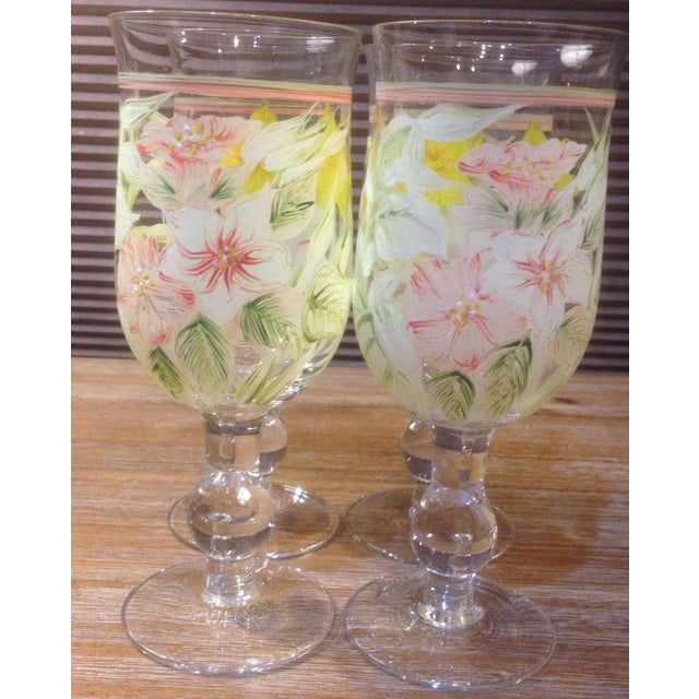 Yellow Vintage Hand Painted Yellow and Pink Flowers Crystal Goblet Glasses - Set of 4 For Sale - Image 8 of 10