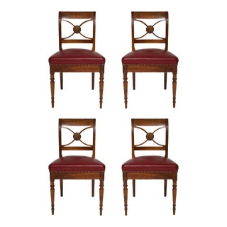 Set of 4 French Midcentury Leather Upholstered Chairs in Maison Jansen Manner For Sale
