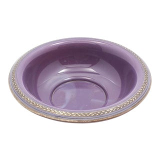 19th Century Gold & Silver-Edged Opaque Purple Glass Basin/ Bowl For Sale