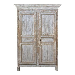19th Century Rustic Swedish Painted Pine Armoire For Sale