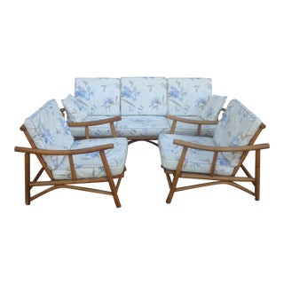 Vintage Asian Tiki Tropical Rattan Sofa and Arm Chairs, Set of 3 For Sale