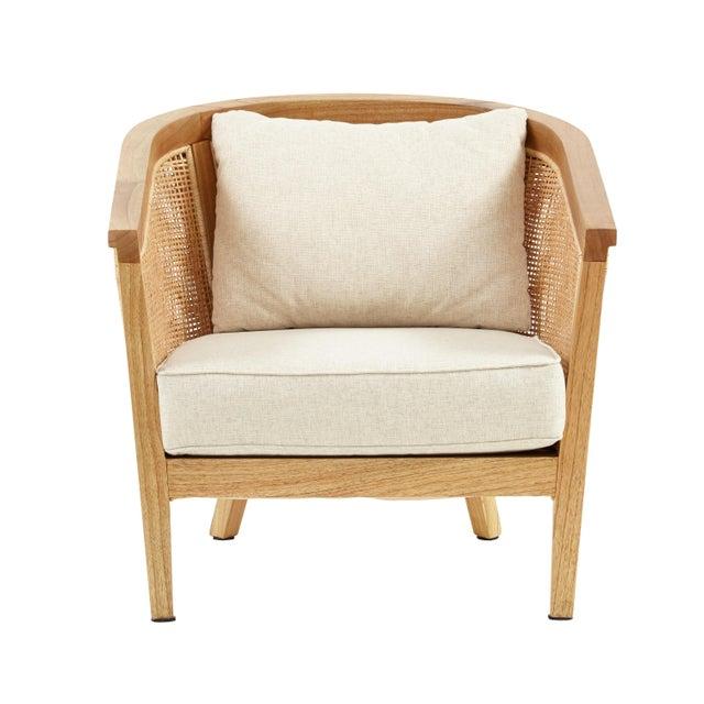 Coastal Valencia Club Chair, Beige, Rattan For Sale - Image 3 of 4