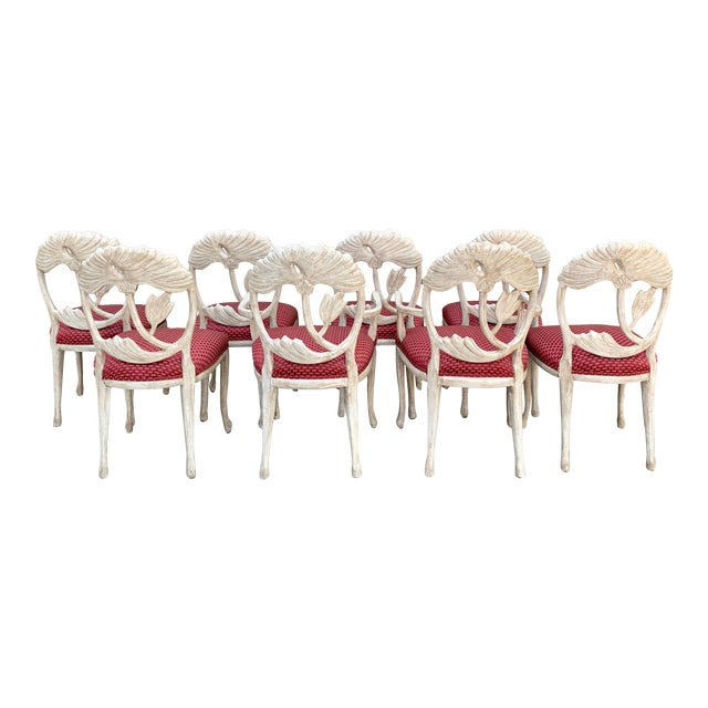 Art Nouveau Style Carved Dining Chairs - Set of 8 For Sale