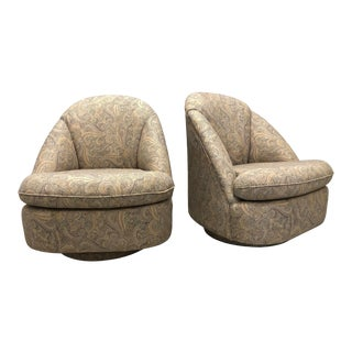 Paisley Swivel Chairs - a Pair For Sale