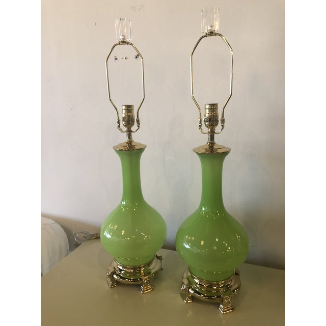 Gold Vintage Paul Hanson Green Opaline Glass Brass Base Table Lamps - A Pair For Sale - Image 8 of 13