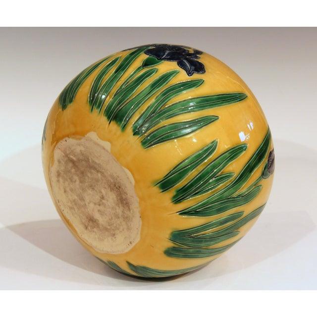 Early 20th Century Large Tanabe-Awaji Pottery Japanese Incised Iris Signed Jardinière Bowl Vase For Sale - Image 5 of 9