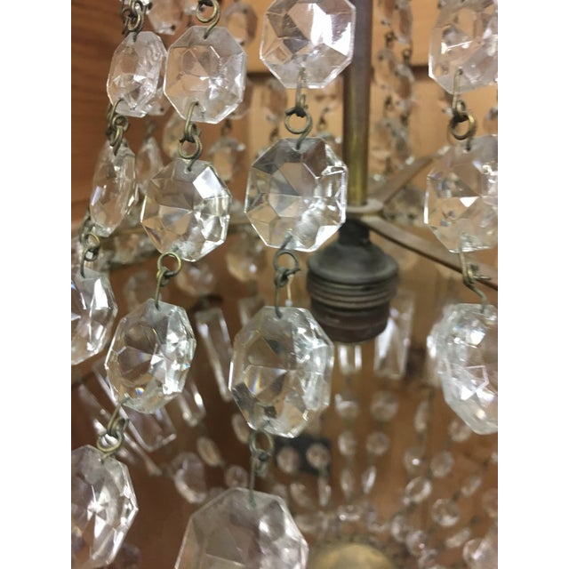 Early 20th Century Italian Crystal Single Light Chandelier For Sale - Image 9 of 11