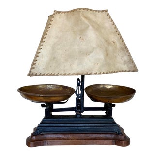 French Iron Balance Scale Converted to Lamp on Wood Base For Sale