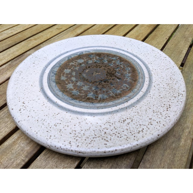 Midcentury Modern Round Glazed Pottery Pedestal Platter For Sale - Image 10 of 13