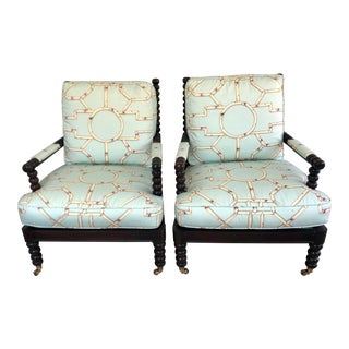 Hickory Chair Co Club Chairs W Scalamandre Baldwin - a Pair For Sale
