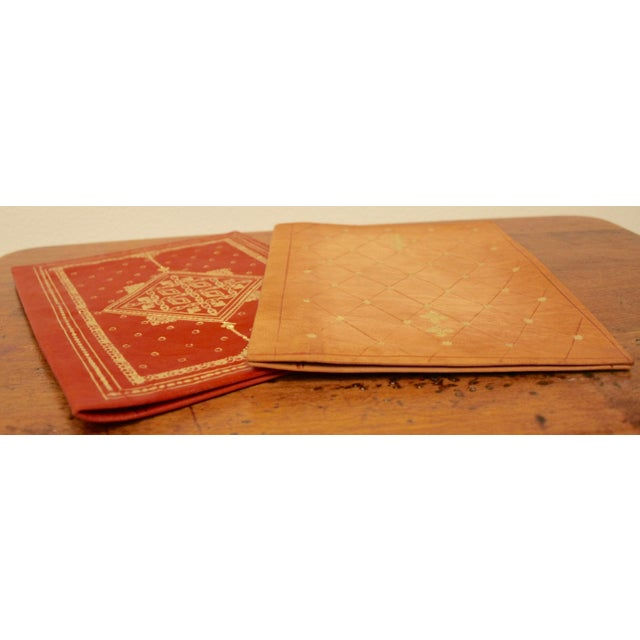 Gold Stamped Moroccan Leather Book Covers - A Pair - Image 5 of 11