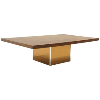 Rosewood Coffee Table With Bronze Mirror Base by Milo Baughman. Rectangle Top For Sale