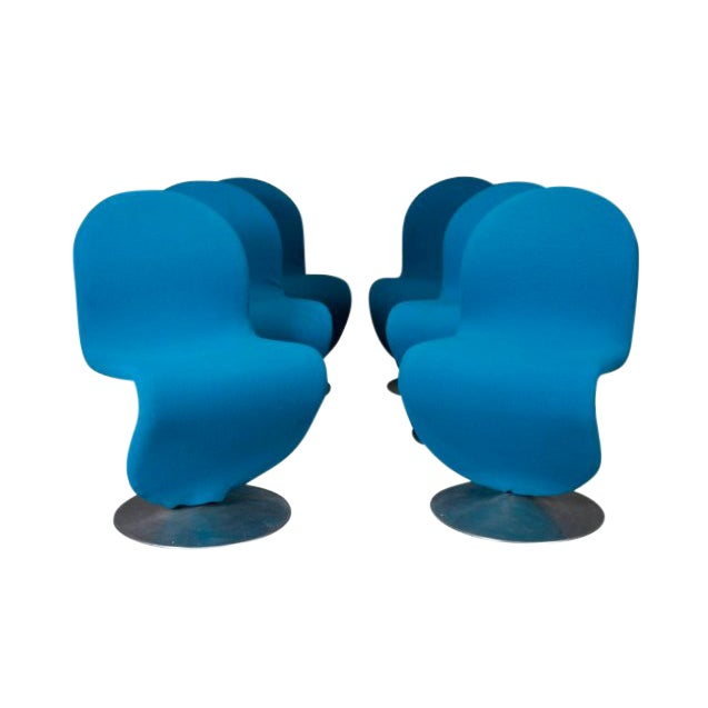 Danish Modern 1-2-3 Chairs by Verner Panton for Fritz Hansen, 1950s- Set of 6 For Sale