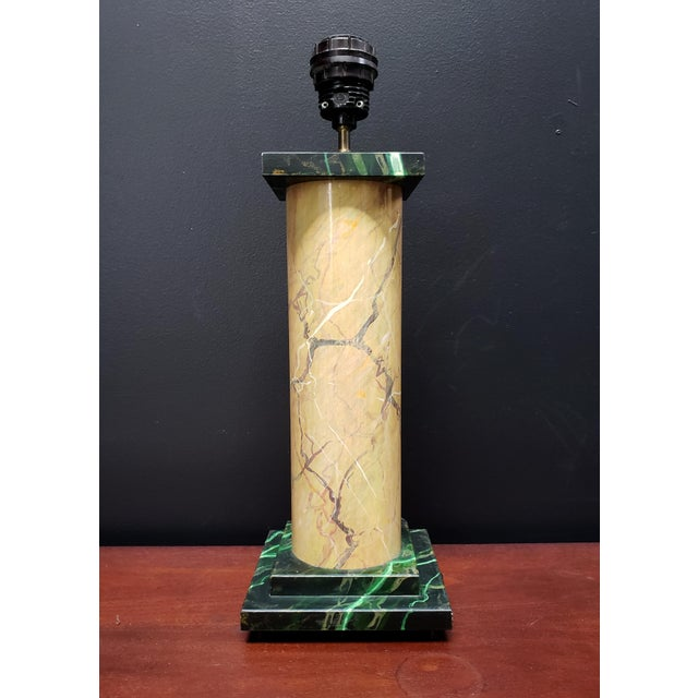1980's French Faux Marble Lamp Designed by Jacques Lamy For Sale In Dallas - Image 6 of 6