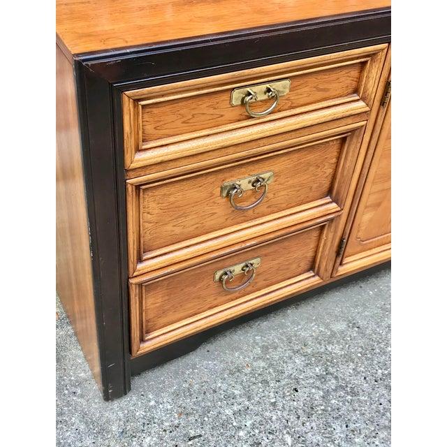 1970s 1970's Asian Nine Drawer Dresser With Tri-Fold Mirror For Sale - Image 5 of 13