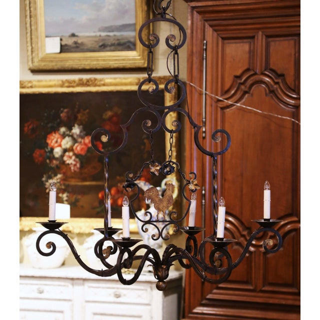 Early 20th Century Early 20th Century French Six-Light Iron Chandelier With Center Rooster For Sale - Image 5 of 13