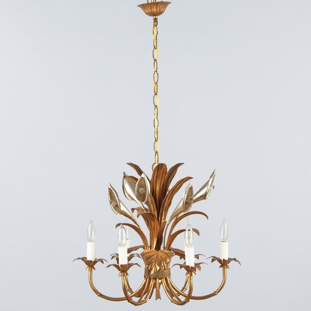 French 1950s French Gilded Metal Chandelier For Sale - Image 3 of 13