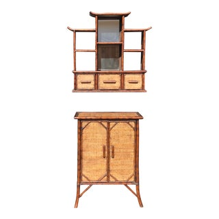 Tiger Bamboo Cabinet and Pagoda Wall Etagere-A Pair For Sale