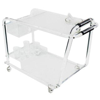 Mid-Century Lucite Bar Cart with Chrome Accents