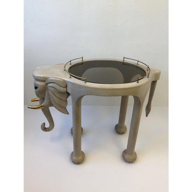 1980s Carved Wood Elephant Bar Cart by Marge Carson For Sale - Image 11 of 12