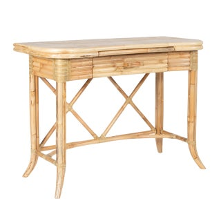 Boho Chic David Francis Crushed Bamboo Writing Desk For Sale