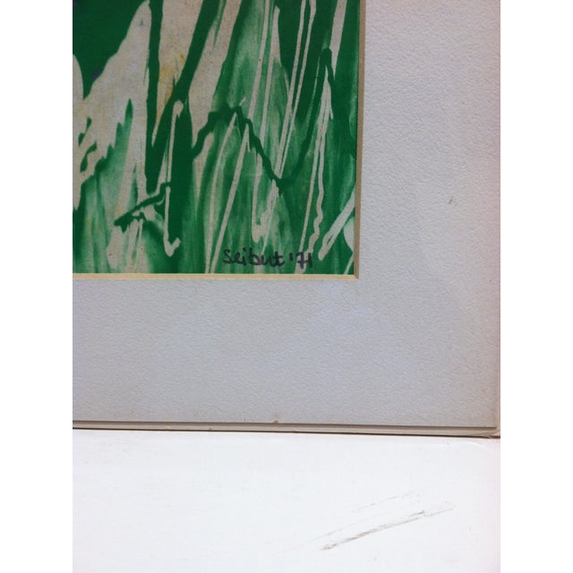 "Realism Matted Original Painting Titled ""Snow Peaks"" by Seibut Circa 1971 For Sale - Image 3 of 5"