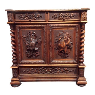 Antique French Black Forest Hunt Cabinet For Sale