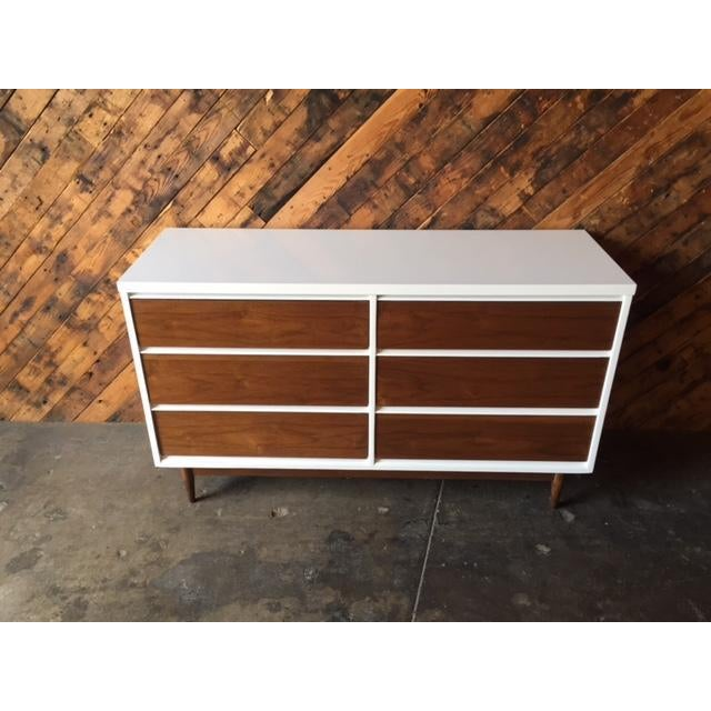Mid-Century Modern Mid Century Refinished Walnut/White Lacquer 6 Drawer Dresser For Sale - Image 3 of 7