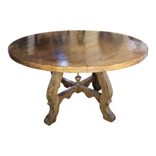 Fremarc Antique French Walnut Barcelona Pedestal Round Table For Sale