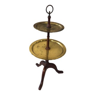 Brass Tiered Tray Table on Wooden Base For Sale