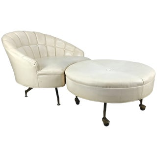 Mid 20th Century Vintage White Naugahyde Barrel Lounge & Round Ottoman For Sale