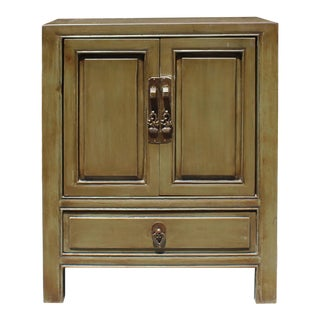 Oriental Distressed Olive Green Lacquer Side End Table Nightstand For Sale