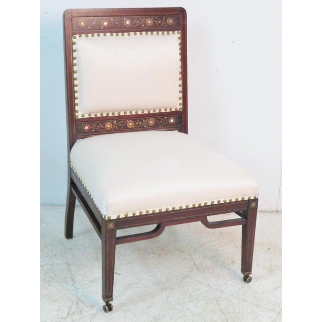 Moorish Herter Brothers Style Inlaid Slipper Chairs - a Pair For Sale In Philadelphia - Image 6 of 7