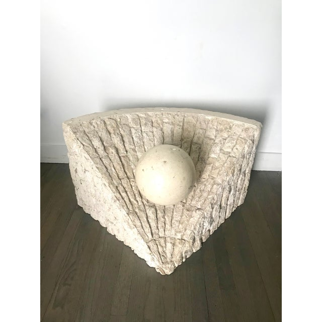 1980's Organic Modern Tesselated Mactan Stone & Glass Coffee Table For Sale In Los Angeles - Image 6 of 11