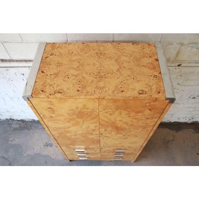 Leon Rosen for Pace Burled Olive Wood and Chrome Wardrobe Dresser - Image 4 of 13