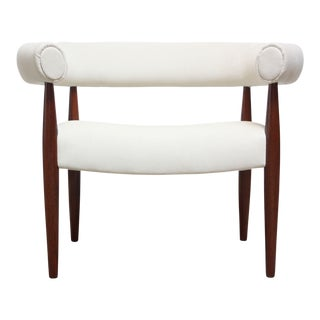 Early Nanna and Jørgen Ditzel 'Ring' Chair in Suede and Teak For Sale