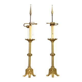 Gothic Revival Antique Aesthetic Brass Pair Converted Candlesticks Lamps For Sale