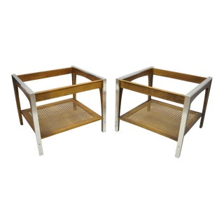 Mid Century Modern Walnut Chrome Aluminum Trim Cane Shelf Lamp End Tables - a Pair For Sale