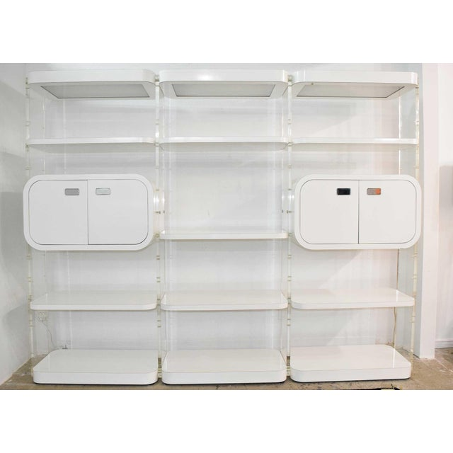 White 1970s White Lacquer Bookcases or Storage Unit After Pace Collection or Milo Baughman For Sale - Image 8 of 13