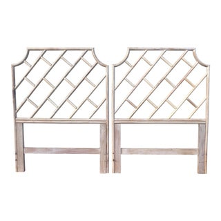 Vintage Bamboo Rattan Chinese Chippendale Twin Headboards - a Pair For Sale